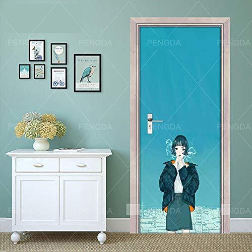3D Deurfolie Deurfolie 3D Deur Sticker Zelfklevende Print Kort Haar Anime Meisje Foto Decal Home Decor Papier Voor Slaapkamer Pvc Waterdichte Art Poster-77X200Cm