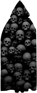 Spooky Skull Wall Full Length Hooded Cloak Witch Cape,Halloween Christmas Cosplay Robe Costume for Adult/Kids