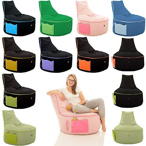 GlueckBean Hochwertiger Sitzsack mit Seitentaschen - Indoor & Outdoor - Gaming Sessel Sitzkissen mit Styroporkugeln Füllung - auch ideal für Kinderzimmer - Schwarz mit Gelb