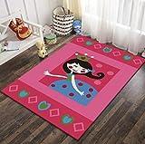 QNYH Alfombra Rectangular de decoración de cabecera de habitación de Princesa, patrón de niña de Dibujos Animados Rosa, Alfombra de Juguete para niños 80cmx150cm