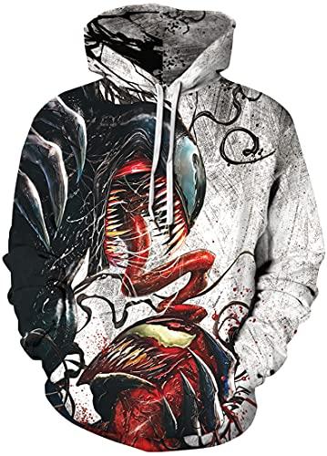 EMLAI Hombre Sudadera con Capucha Venom Estampado en 3D Hoodie Halloween Navidad Invierno Colorido con Bolsa (L, 1 Venom Negro Rojo)