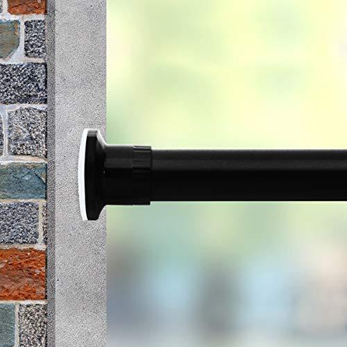 Vailge Teleskopstange Gardinenstange Vorhangstange ohne Bohren, Verstellbare Teleskopstange Klemmstange durch Drehen Verstellbar, Nutzbar als Kleiderstange, Duschvorhangstange(Schwarz,110-210cm)