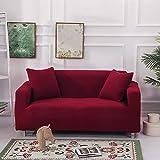 Sofa-Set All-Inclusive elastischen Mais samt Plus Dickes Sofa Set einzelne dreifache Sofa Set voller Abdeckung Dekoration Dreier 181cm-230cm Liquor Red