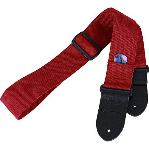 Pulseira de guitarra Protec com extremidades de couro grosso e bolso para palhetas, vermelha