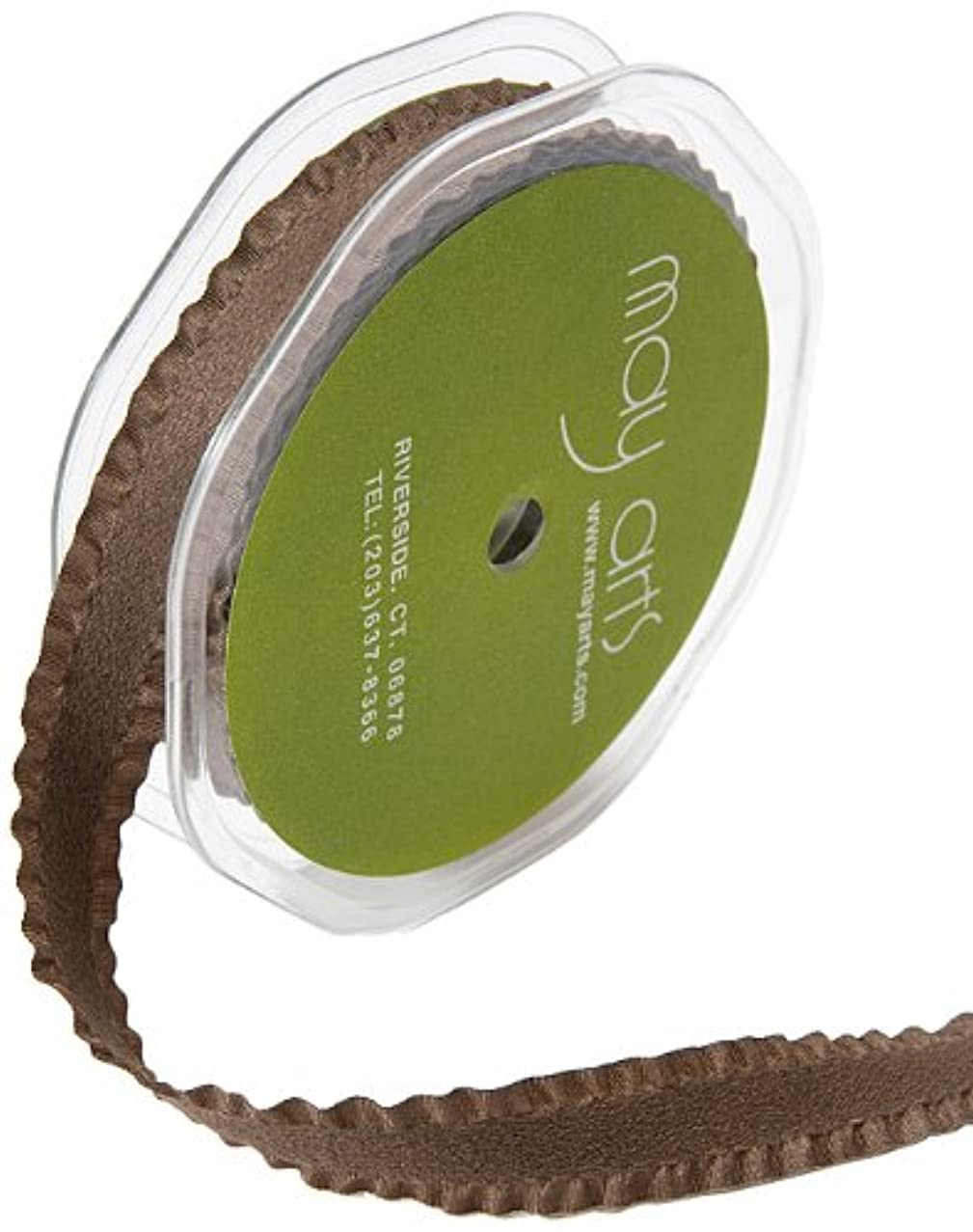 May Arts 5/8-Inch Wide Ribbon, Brown Faux Faux Suede with Ruffled Edge