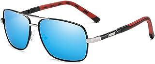 XINGYU - Gafas de Sol polarizadas para Hombre para Deportes Gafas de Sol de conducción al Aire Libre Gafas de Sol con Montura metálica Cuadrada Gafas de Sol Azules