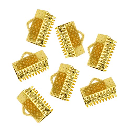HEALLILY 100pcs Ribbon Ends Fastener Kneading Clamp Ends Clasps Textured Crimp Ends Golden