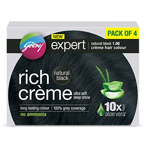 Godrej Expert Rich Crème Hair Colour Shade 1 NATURAL BLACK, Pack of 4