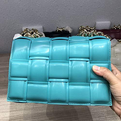 San-Hai Bolsa de Mensajero de Cuero Femenino Bolso Diseñador Tendencia Femenina Tela Escocesa Bolsa de Hombro Damas Cartera y Bolso San-Hai (Color : Light Blue, Size : L26xW6xH16cm)