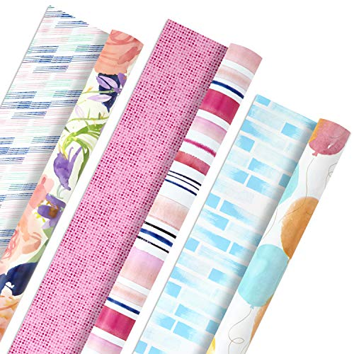Hallmark All Occasion Reversible Wrapping Paper Bundle - Watercolor Flowers, Stripes, Balloons (3-Pack: 75 sq. ft. ttl.) for Birthdays, Mothers Day, Weddings, Baby Showers, Bridal Showers, Easter