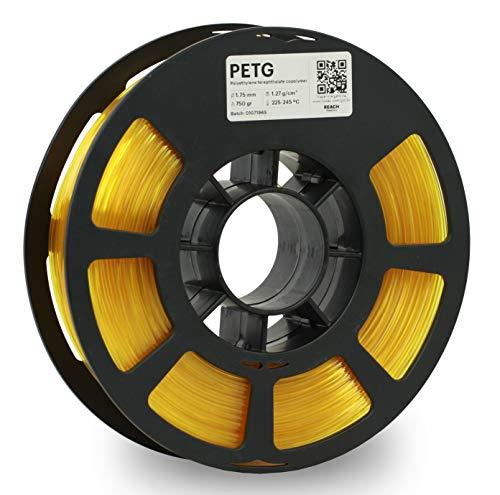 KODAK PETG Filament 1.75mm for 3D Printer, Translucent Yellow PETG, Dimensional Accuracy +/- 0.02mm, 750g Spool (1.7lbs) PETG Filament 1.75 Used as 3D Filament Consumables to Refill Most FDM Printers