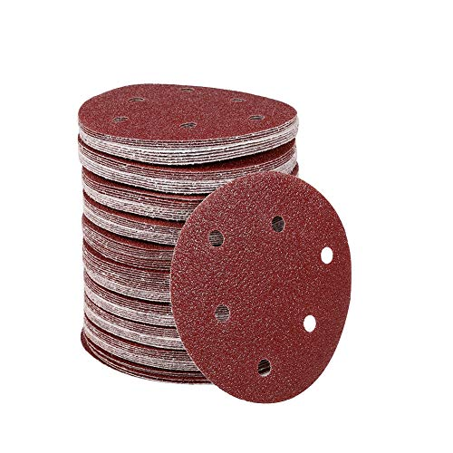 100Pcs Discs Buffing Discs Polishing Pads 125mm Round Shape Orbit Sander Sand Paper Discs 6 Holes 40#-80# Grit Sanding Sheets(40#)