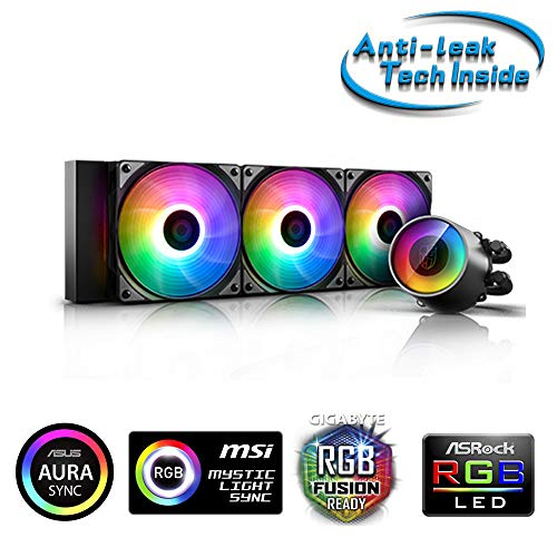 DeepCool Castle 360 RGB V2 koelsysteem anti-lek 360 mm koeler RGB Rainbow Addressable 5V ADD RGB 3-Pin compatibel met Intel 115X/2066 en AMD TR4/AM4