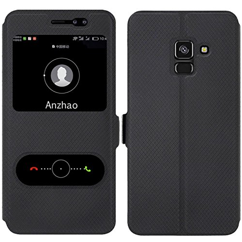 Anzhao Samsung Galaxy A8 Plus 2018 A730 Custodia Flip Cover [Chiusura Magnetica] con Finestra [View Window] e Supporto per Samsung Galaxy A8 Plus 2018 A730 (Nero)
