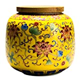 Cabilock Ceramic Tea Canister with Airtight Wood Lid Vintage Chinese Style Tea Storage Jars Traditional Tea Tins Cans Tea Caddy 230ML for Kitchen Spice Tea Coffee Condiment Yellow