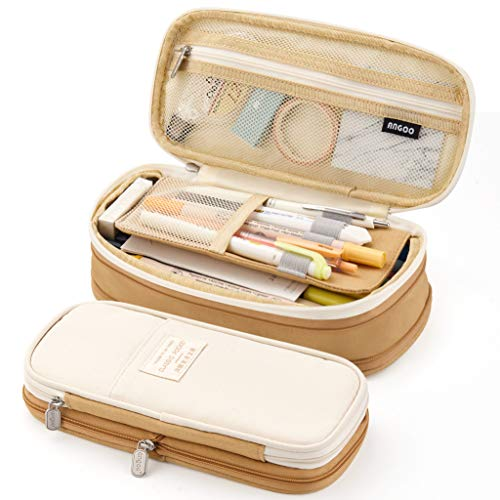 EASTHILL Big Capacity Pencil Pen Case Office College School Large Storage High Capacity Bag Pouch Holder Box Organizer Khaki New Arrival