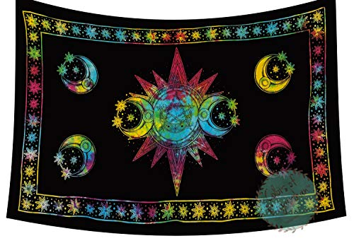 Tie - Dye Triple Moon Symbol Tapestry Goddess Celtic Wicca Wall Hanging The Pentacle Decor Horned God Mandala Wall Hanging