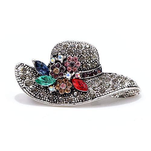 KXBY Broche Vintage Fashion Antiek Gouden Kleur Strass Hoed Broches voor vrouwen Bruiloft Corsage Accessoires Pins-Zilver