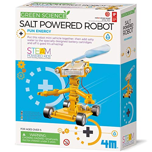 4M Green Science Salt Water Powered Robot Kit - Green Energy Robotics STEM Toys Educational Gift for Kids & Teens, Girls & Boys , Brown