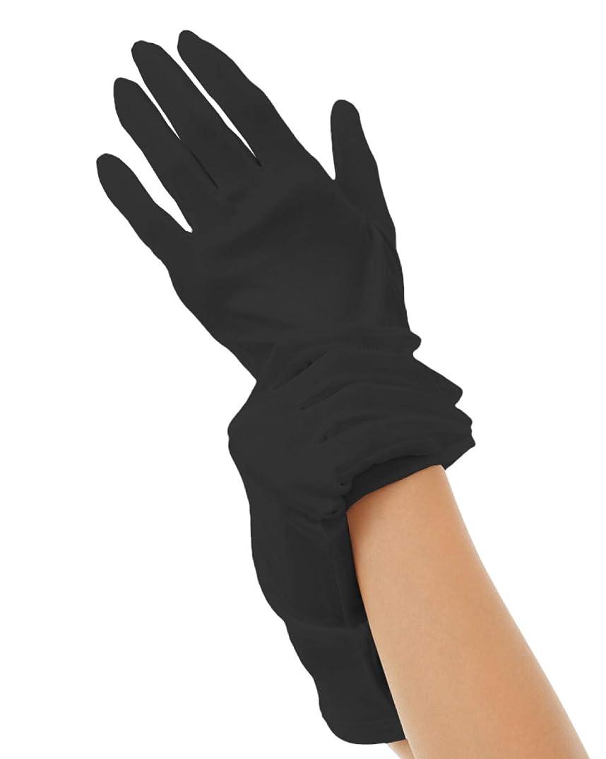 ホールド先入観葉っぱハンドケア シルク 手袋 Silk 100% おやすみ スキンケア グローブ うるおい 保湿 ひび あかぎれ 保護 上質な天然素材 (M, ブラック)