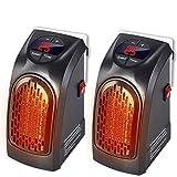 Bakaji - Calefactor eléctrico Handy Fast - 400W de potencia - Portátil - Enchufe eléctrico - Regulable de 15°C a 32°C - Bajo consumo - Ideal para el baño, la casa y la oficina - Cantidad 2 Unidades