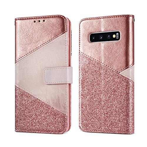 ZCDAYE Hülle für Samsung Galaxy S10 5G,Luxus Glitter Schutzhülle [Magnetverschluss] PU Leder [Keramisches Muster][Kartensteckplätze] Flip Geldbörse Folio Tasche weichem TPU Handyhülle - Roségold
