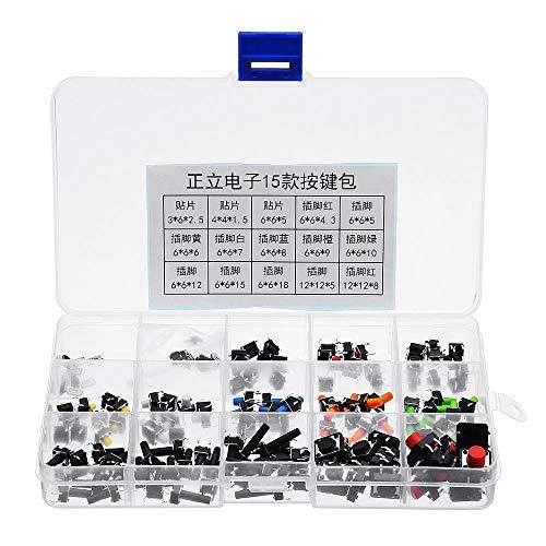 DIMENXONG Conjuntos y componentes electrónicos DIY 15 Tipos Interruptor de tecla de botón Micro Interruptor Dip SMD 4 Pin