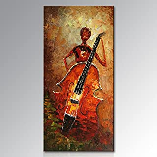 Hand Painted Textured Abstract Music Oil Painting on Canvas Modern Musical Instrument Framed Wall Art for Living Room