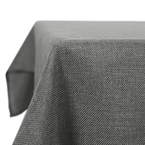 Deconovo Leinenoptik Tischdecke Wasserabweisend Tischwäsche Lotuseffekt 130x130 cm Grau