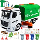 71 PCS Take Apart Garbage Truck Playset – 1:12 SCALE Push & Go + Electric Drill, Sounds & Lights, Road Signs Set, 4 TRASH CANS & 40 FLASH CARDS for Learning – Recycling Truck for boys ages 4 5 6 7 8 +