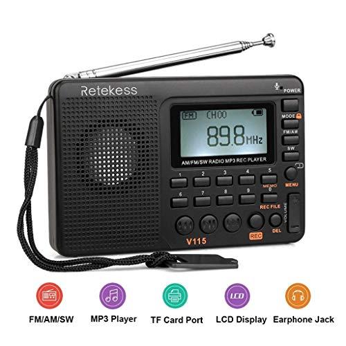 Receptor de Radio FM Am SW Radio portátil de Bolsillo con grabadora Digital USB MP3, Tarjeta Micro SD TF Sleep Timer (Color : Black, tamaño : 12cm)