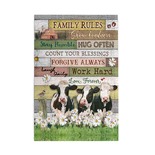 1000 Pieces Jigsaw Puzzle Cow Family Chrysanthemum Pictures Puzzle for Adults Teens Large Wooden Puzzle Game Artwork for Home Wall Decoration Photo Frame Box Kids DIY Floor Puzzles