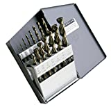 Cle-Line C18620 Style 1872 High Speed Steel 135° Heavy-Duty Parabolic Jobber Length Drill Set, Black and Gold Finish, 1/16' - 1/2' Size, 15 Pieces