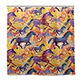 vinlin Duschvorhang mit Pferde-Muster, wasserfest, 167,6 x 182,9 cm, Polyester, Multi, 72x72 inch
