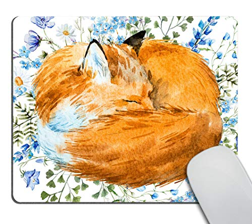 Smooffly Mousepad Fox Mousepad Floral Blue Flowers Mousepad Animal Mousepad Cute Mousepad Desk Accessories Office Supplies
