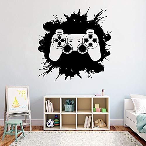 Zona de videojuegos Blood Drops Splash Joystick Controller PS5 Gamer Etiqueta de la pared Calcomanía de vinilo Niño Dormitorio Sala de estar Sala de juegos Club Studio Decoración para el hogar Mu