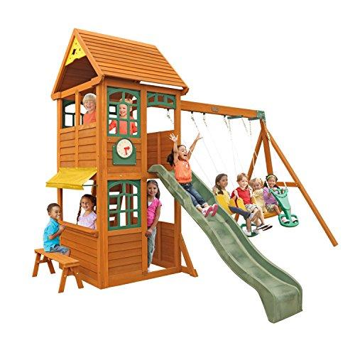 KidKraft Brooksville Cedar Wood Swing Set / Playset F24915, Gift for Ages 3-10