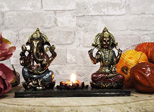 Ebros Gift Lord God Ganesha Chaturthi and Krishna Vishvarupa Seated On Thrones with Lotus Flower Votive Candle Holder Figurine 9.25' Long Ganesh Moon Curse Candleholder Statue