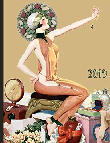 Vintage Pinup Girl with Flowers Jewelry and Gifts: 2019 Schedule Planner and Organizer / Weekly Calendar