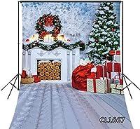 新しい5x7ftクリスマス暖炉の背景クリスマスツリーリースガーランドギフトボックス写真撮影のための写真の背景子供の赤ちゃんの肖像画イベント写真撮影写真ブーススタジオの小道具