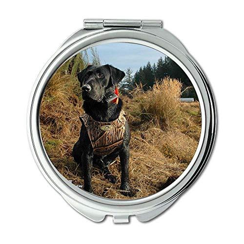 Yanteng Spiegel, Runder Spiegel, Happy Dog, Taschenspiegel, 1 X 2X Vergrößerung