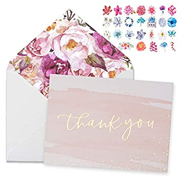 Thank You Cards-48 Bulk Blank Gold Foil&Watercolor Bulk Box Set with Elegant Floral Envelopes &Stickers for Wedding Baby Shower Bridal Shower Business Anniversary Funeral -4  x 6