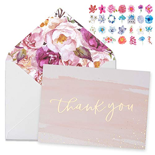 Thank You Cards-48 Bulk Blank Gold Foil&Watercolor Bulk Box Set with Elegant Floral Envelopes &Stickers for Wedding, Baby Shower, Bridal Shower, Business, Anniversary, Funeral -4' x 6'