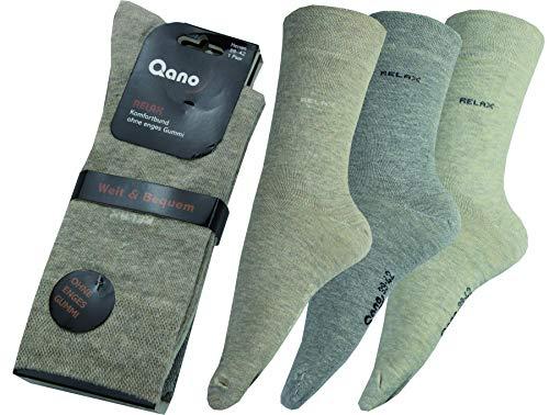 Qano Relax Herren Business & Freizeit Socken ohne enges Gummi Beige, Grau sortiert im 3er-Pack (47/50)