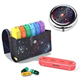 Pill Organizer Pill Box,LIZIMANDU Weekly Travel Pill Case Box Medication Reminder Daily AM PM,Day Night 7 Compartments,for 4 Times A Day,7 Days a Week-Includes Leather PU Carrying Case(Star Night Set)
