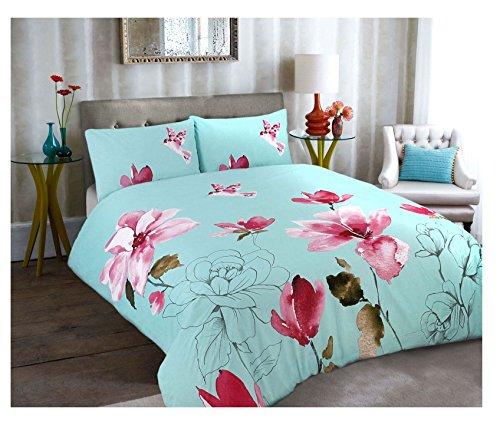 Islander Modas Floral Anna Claire Stella Azul Impreso de edredón y Funda de Almohada Juego de Cama Individual, Doble, King, Super King