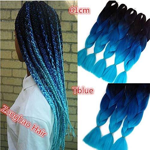 6 Packs Eunice Hair Jumbo Flechten Hair Extensions Colorful Kunsthaar Kanekalon Haar für Heimwerker Crochet Box Zöpfe Ombre 2Tone Color 100 g/pcs 61 cm (Tblue)