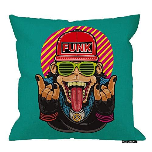 Funda de almohada con diseño de mono, Funky Rock Monkey con gafas y sombrero fresco, fundas de cojín de algodón y lino, fundas de almohada decorativas para el hogar, 45,7 x 45,7 cm