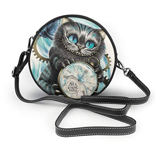 A Cat With Alice im Wunderland Damen Handtasche Crossbody Umhängetasche Leder Tasche Casual Mini Schultertasche