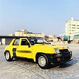 NRSM Coche de juguete 1:24 para R-enault 5 Turbo amarillo Speedway Simulación Aleación Modelo de Coche Artesanías Decoración Colección Juguete Herramientas Regalo